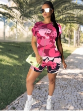 Stitching Color Tiger Pattern Summer Two Piece Shorts Set