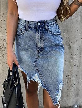 Irregular Design High Waist Ripped Denim Skirt
