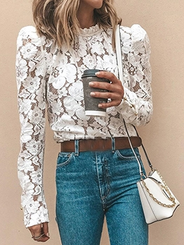 Flower Pattern O Neck Long Sleeve White Lace Blouse