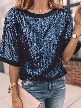 Shiny Sequins Short Sleeve Crew Neck T Shirt