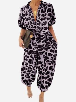 Turndown Collar Short Sleeve Leopard Print Jumpsuit