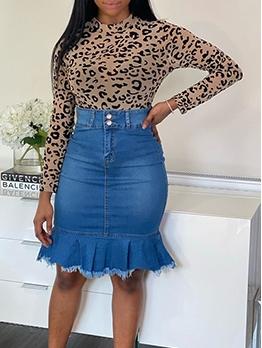 Ruffled Hem High Waist Fitted Blue Denim Skirt