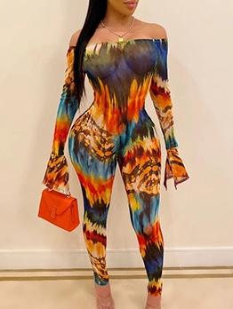 Colorful Printed Off The Shoulder Jumpsuit