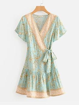 Euro Pastoral Style Print Short Sleeve Wrap Dress