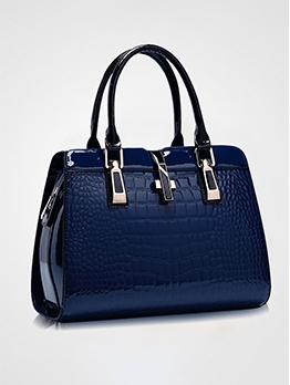 Stone Grain Metal Splicing Solid Large Handbags For Women