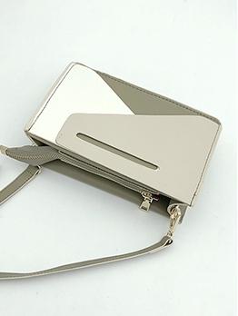 Stitching Color Rectangle Detachable Belt Crossbody Bags