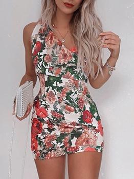 Summer v Neck Floral Sleeveless Sheath Mini Dress