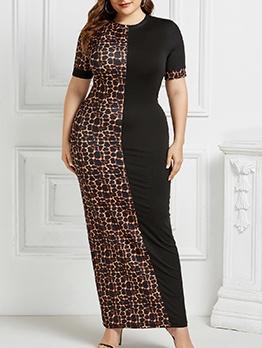 Animal Print Colorblock African Plus Size Maxi Dress