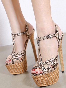 Snake Print Pee-Toe Super High Heels Platform Sandals