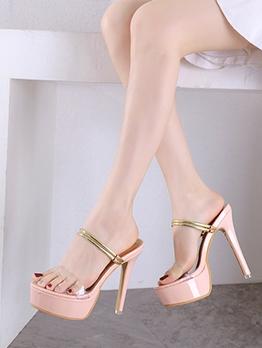 Transparent PVC Thin Strap Platform High Heel Sandals