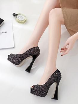 Goblet Heel Solid Glitter Sequins Pee-Toe Platform Heels