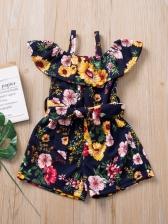 Off The Shoulder Floral Summer Romper For Baby