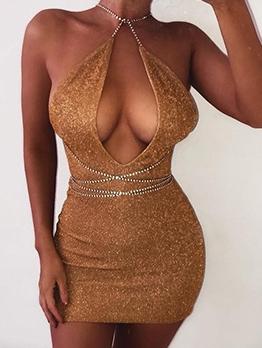 Sexy Glitter Chain Strap Backless Bodycon Dress