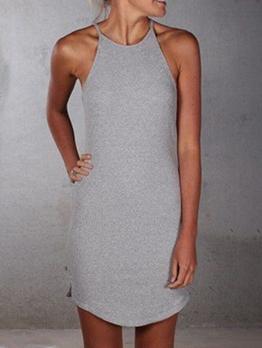Simple Solid Casual Sleeveless Ladies Sundress