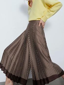 Casual High Waist Printed Women Wide Leg Pants