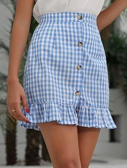 Fashion Flounced Hem Plaid A-Line Dress