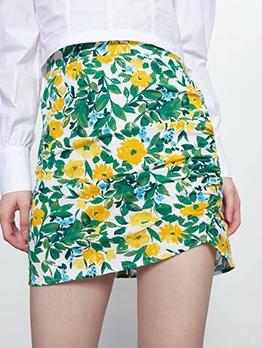 Loose Flower Pattern Ladies a Line Skirt