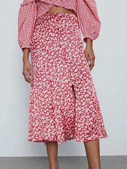 Casual Split High Waist Floral Skirt