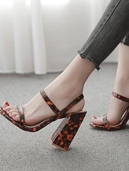 Leopard Print Chunky Heel Summer Sandals
