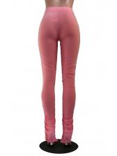 Solid Color Pocket Split Stacked Pants For Women