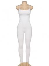 Zipper Bottom Pure Color Plain Skinny Jumpsuit