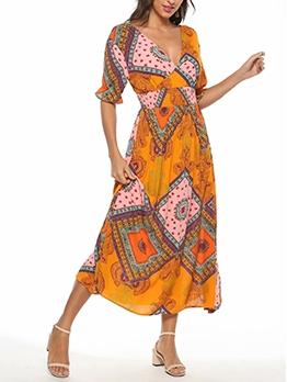 Elastic Waisted v Neck Summer Maxi Dresses