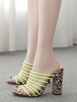 Roman Style Snake Print Chunky Heel Summer Slippers
