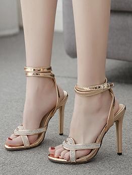 Euro Rhinestone Decor Ankle Strap High Heel Sandals