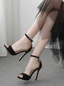 Peep Toe Suede High Heel Black Sandals