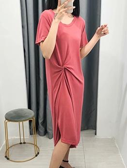Waist Twist Solid Short Sleeve T-Shirt Dress