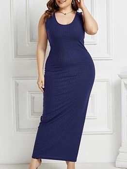 U Neck Solid Color Sleeveless Plus Size Maxi Dress