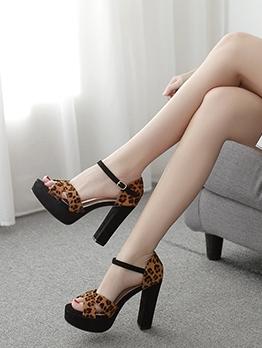 Leopard Print Ankle Strap Chunky Heel Platform Sandals