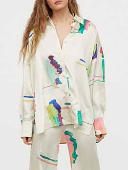 Color Block Single Breasted Loose Long Sleeve Shirts