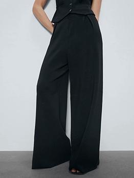 Casual Plain Black Straight Leg Long Pants For Women