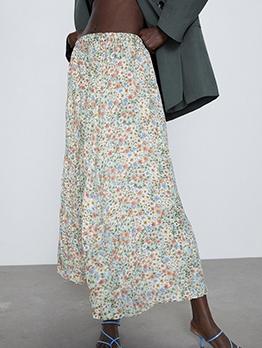 Summer Elastic Waist Loose Floral Maxi Skirt