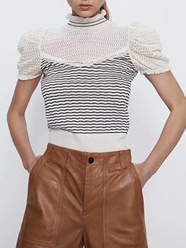 Stripes Patchwork Mock Neck Elastic Short Sleeve T Shirt