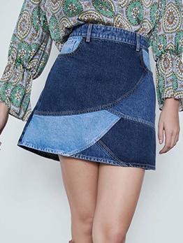 New Arrivals Contrast Color High Waist Denim Skirt
