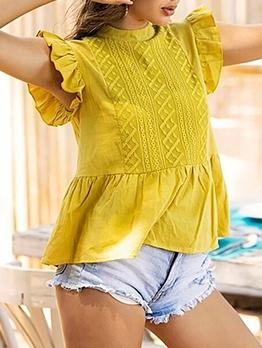 Summer Solid Loose Ruffled Sleeve Ladies Blouse