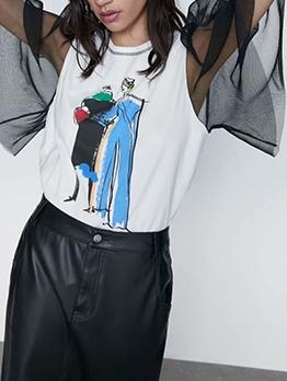 Black Gauze Sleeve Printed T Shirts For Women
