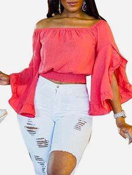 Solid Flare Sleeve Short Off Shoulder Blouse