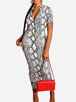 Fashion Snake Skin Printed Short Sleeve Maxi Dress