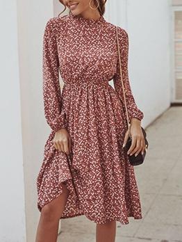 Stylish Ditsy Printed Long Sleeve Dress