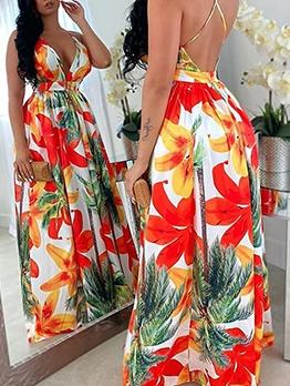 Botanic Printed Deep v Backless Summer Maxi Dresses
