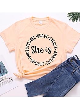 Leisure Letter Loose Short Sleeve Cotton T-shirt