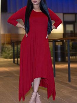 Loose Solid Irregular Hem Long Sleeve Maxi Dress