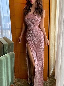 Fashion Sequins Strapless Women Evening Gowns