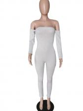 Off The Shoulder Pure Color Skinny Jumpsuit