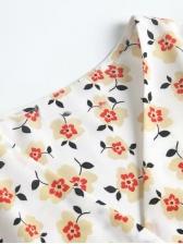 Puff Sleeve Floral Wrap Short Dress For Women