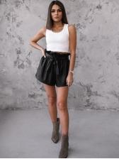 Fashion Tie Wrap High Waist Leather Short Pants