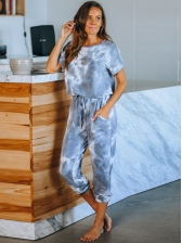 Casual Tie Dye Short Sleeve Women Loungewear